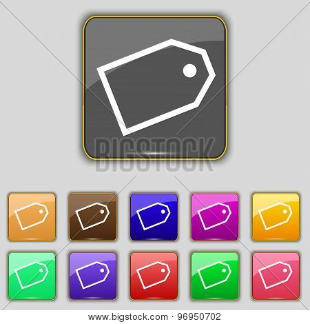Web Stickers Icon Sign. Set With Eleven Colored Buttons For Your Site. Vector