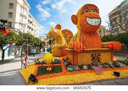 MENTON FRANCE - FEBRUARY 20: Chinese horoscope monkey and mouse made of oranges and lemons on Lemon