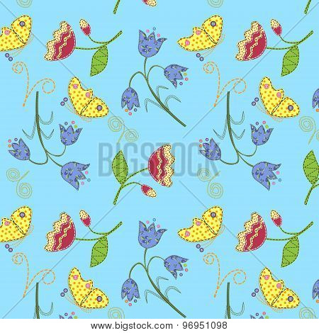 Stitched fabric flowers and butterflies, seamless pattern.