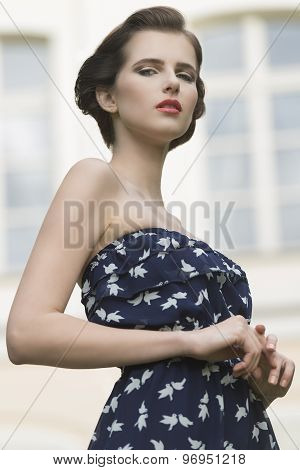 Charming Woman In Outdoor Fashion Shoot