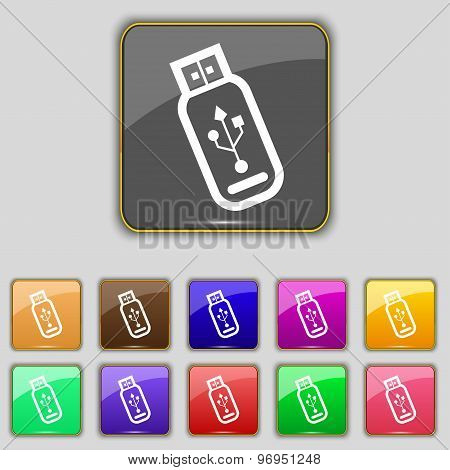 Usb Flash Drive Icon Sign. Set With Eleven Colored Buttons For Your Site. Vector