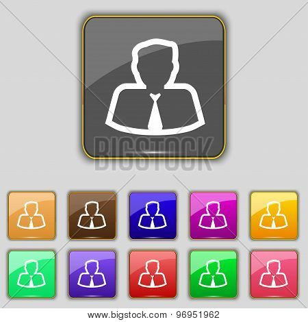 Avatar Icon Sign. Set With Eleven Colored Buttons For Your Site. Vector