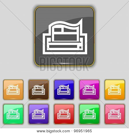 Newspaper Icon Sign. Set With Eleven Colored Buttons For Your Site. Vector