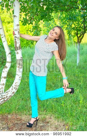 girl at a birch