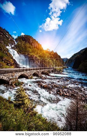 Latefossen Waterfall Odda Norway. Latefoss is a powerful, twin waterfall.