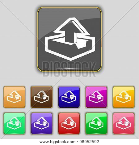 Upload Icon Sign. Set With Eleven Colored Buttons For Your Site. Vector