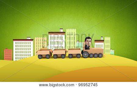 Man ride paper train