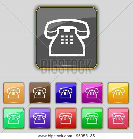 Retro Telephone Handset Icon Sign. Set With Eleven Colored Buttons For Your Site. Vector