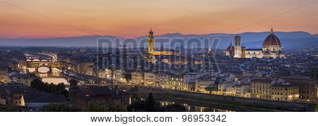 FLORENCE, ITALY - June 19, 2015: View of Florence after sunset from Piazzale Michelangelo