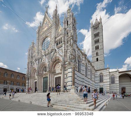 SIENA, ITALY - June 13, 2015: Santa Maria Assunta Cathedral in Siena, Italy