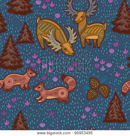 Decorative seamless pattern with wild animals from National park. Deer and sables. Vector illustrati