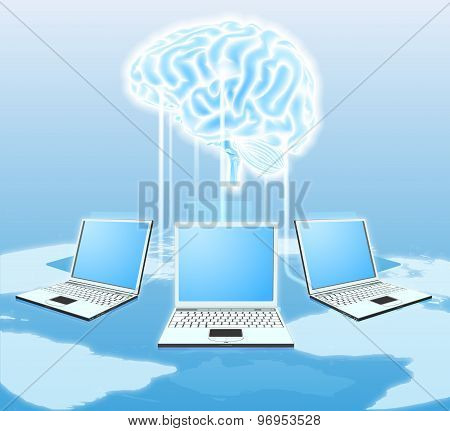 Cloud Brain Computer Concept