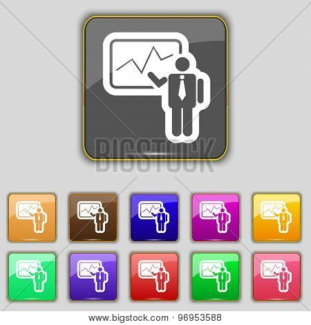 Businessman Making Report Icon Sign. Set With Eleven Colored Buttons For Your Site. Vector