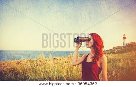 Girl With Binocular Near Lighthouse