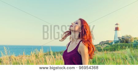 Girl Near Lighthouse