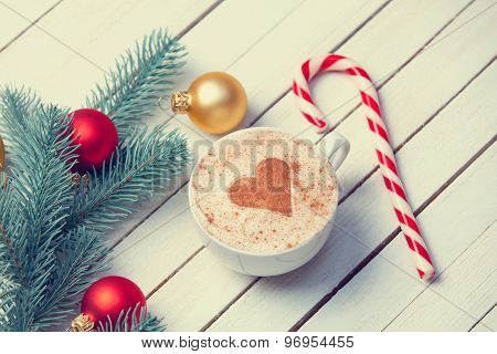 Cup Of Coffee And Christmas Gifts