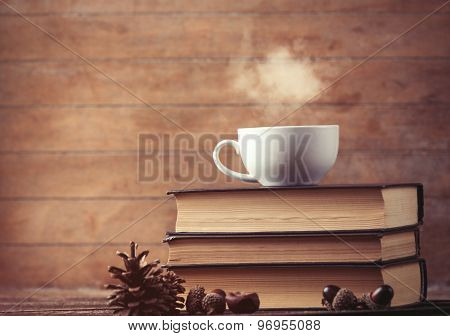 Cup Of Coffee And Pine Cone With Books
