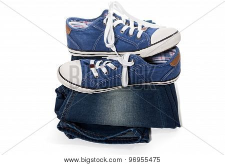 Jeans And Blue Sneakers