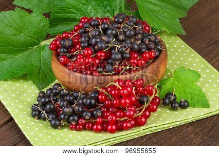 Black and Red Currant Berries in Wooden Bowl