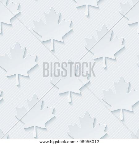 Light gray maple leaves wallpaper. 3d seamless background. Vector EPS10.