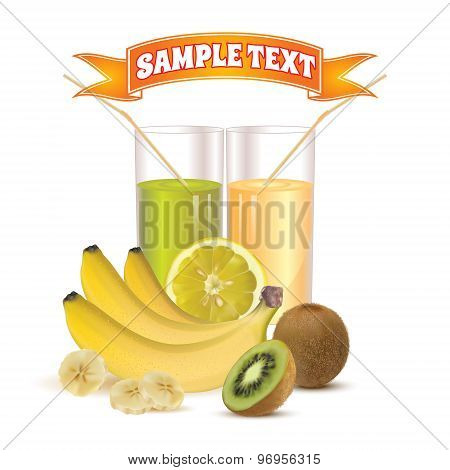 two glasses with juice and straw, lemon, bananas and kiwi