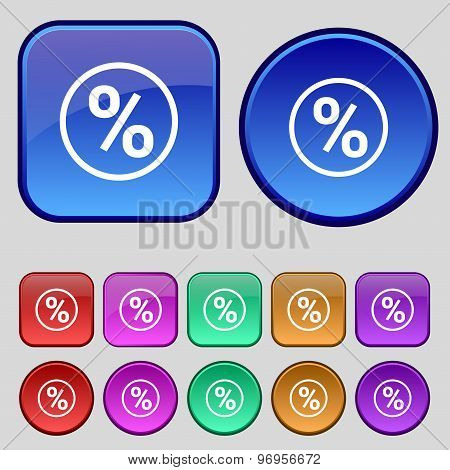 Percentage Discount Icon Sign. A Set Of Twelve Vintage Buttons For Your Design. Vector