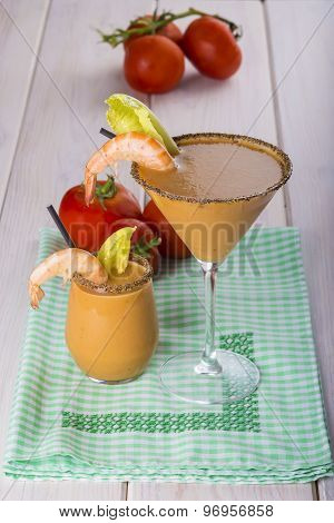 Seafood Cream Soup In Cocktail Glass