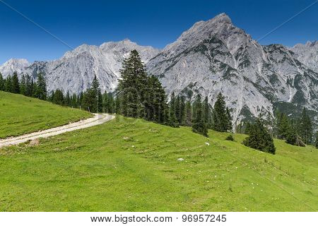 Idyllic Rocky Mountains Scenery. Austria, Tirol, Walderalm