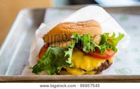 Delicious Cheeseburger On Tray