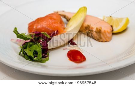 Braised Salmon With Endive