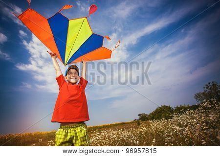 Kid flies a kite into the blue sky