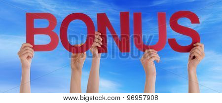 Many People Hands Holding Red Straight Word Bonus Blue Sky