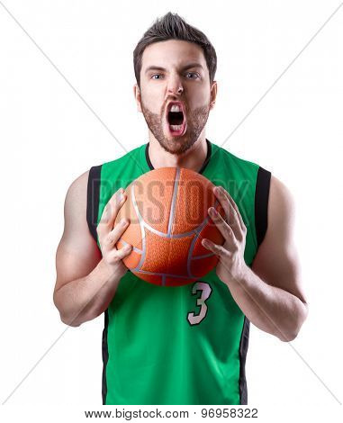 Basketball Player on a green uniform on white background