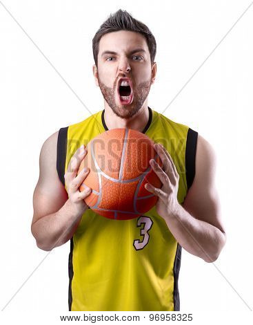 Basketball Player on a yellow uniform on white background