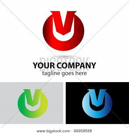 Vector logo illustration of letter V
