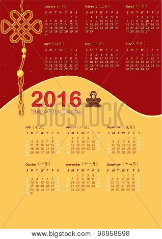 Chinese Year of the Monkey - Calendar 2016