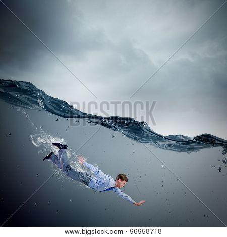 Businesswoman under water