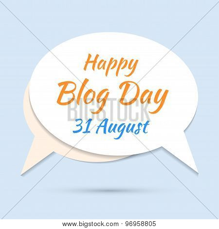 Happy blog day icon on blue background