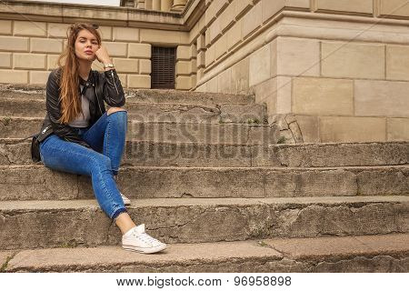 Woman Thinker Sitting