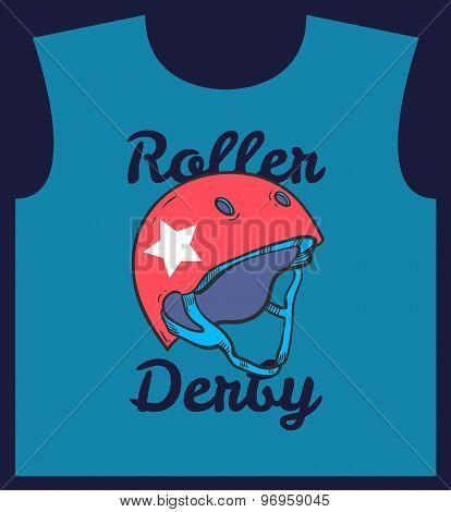 Roller derby helmet typography t-shirt graphics vectors