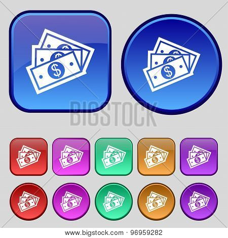 U.s Dollar Icon Sign. A Set Of Twelve Vintage Buttons For Your Design. Vector