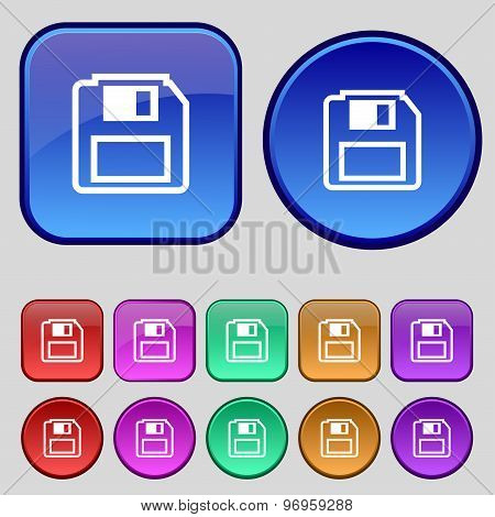 Floppy Disk Icon Sign. A Set Of Twelve Vintage Buttons For Your Design. Vector