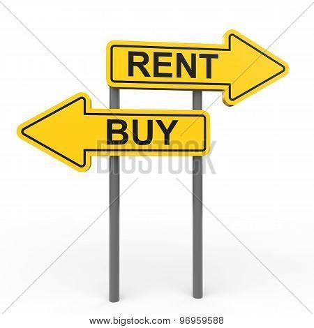 3D buy or rent arrow sign board