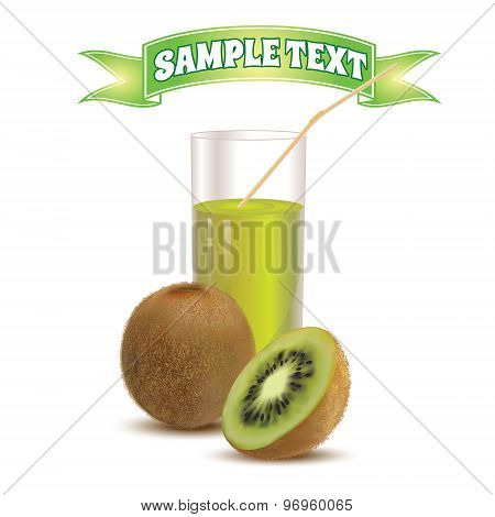 Photo realistic glass of juice kiwi and slice kiwi