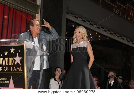 LOS ANGELES - JUL 24:  Kenny Ortega, Kristin Chenoweth at the Kristin Chenoweth Hollywood Walk of Fame Star Ceremony at the Hollywood Blvd on July 24, 2015 in Los Angeles, CA