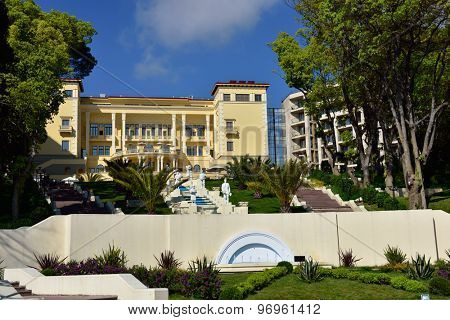 SOCHI, RUSSIA - MAY 17, 2015: Building and staircase of Swissotel Resort Sochi Kamelia viewed from the sea. The resort is opened in 2013 on the place of Soviet time Kamelia resort