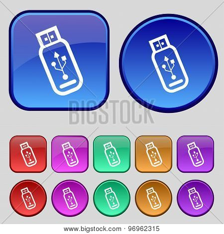 Usb Flash Drive Icon Sign. A Set Of Twelve Vintage Buttons For Your Design. Vector