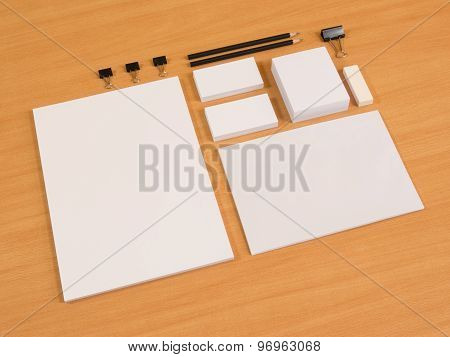 Branding elements with pen and business cards