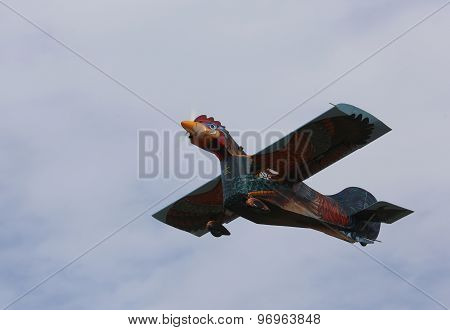 Thiene, Vicenza - Italy. 26Th July, 2015: Amazing Hen Airplane With Head And Feathers Drawn