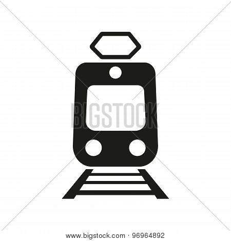The train icon. Metro and tram, railroad symbol. Flat
